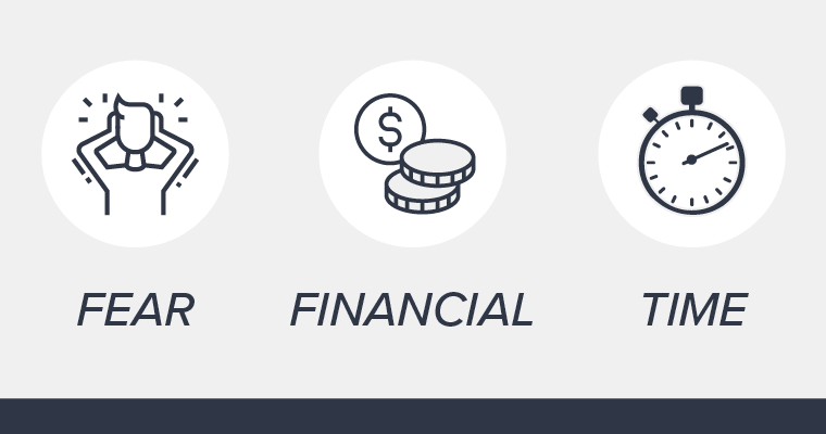 Icons representing common dental barriers: Fear, financial concerns, and time