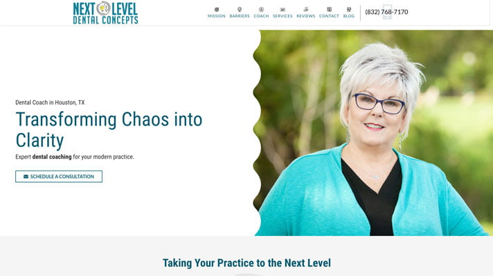 Preview image of Next Level Dental Concepts' new responsive consultant website for dental coaches.