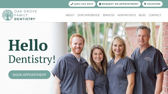 Preview image of Oak Grove Family Dentistry's new responsive dental website.