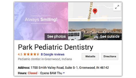 Image of local Google listing for Park Pediatric