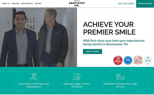 Preview of Nashville Dentistry Co's new website