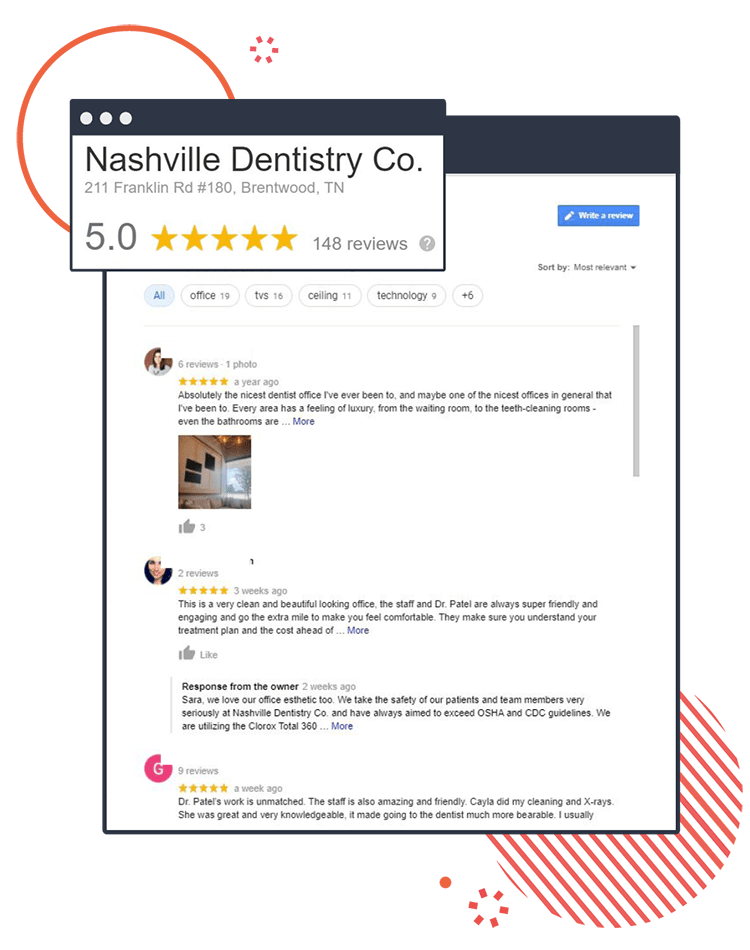 Nashville Dentistry Co's Google My Business reviews