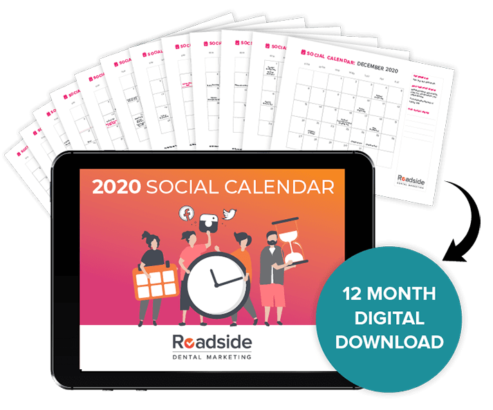 2020 Social Calendar being displayed on a tablet