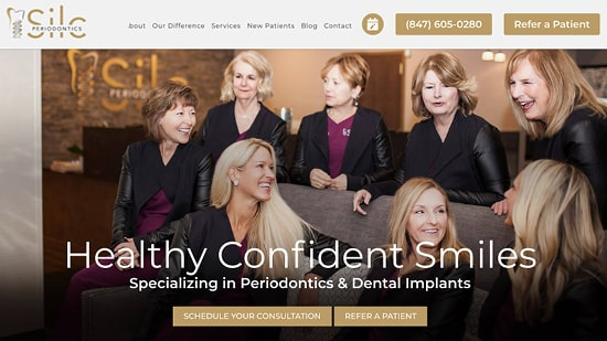 Preview image of Silc Periodontic's new responsive dental lab website.