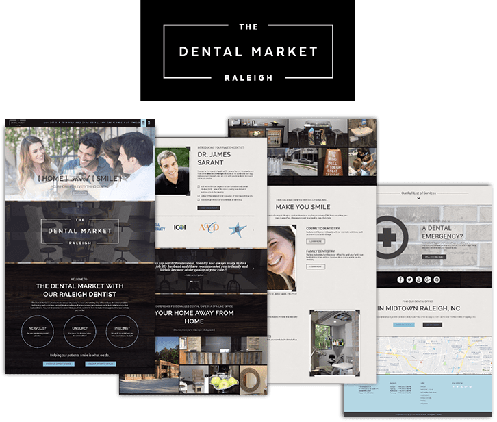 After image of The Dental Market's logo and pages from the website