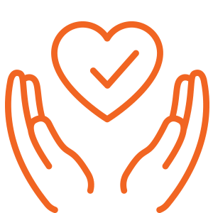 Icon of two hands with a heart in the middle and a checkmark