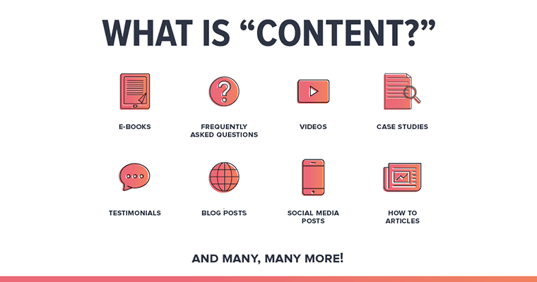 "What is ""content?"" E-books, FAQs, videos, case studies, testimonials, blog posts, social media, how-to articles, and many more!"